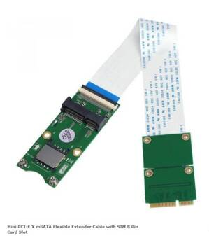 Mini PCI-E X mSATA Flexible Extender Cable with SIM 8 Pin Card Slot